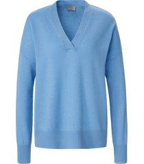 trui van 100% kasjmier met v-hals van include blauw