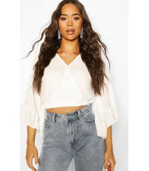geweven wikkel crop top met franjes mouwen, white