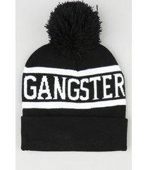 """gorro masculino """"gangster"""" em tricô com pompom e barra dobrada preto"""