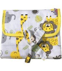 trocador portátil alan pierre baby sem bordado, tricoline 100% algodão - safári amarelo