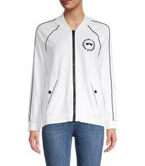 karl lagerfeld paris women's logo raglan-sleeve track jacket - soft white - size m