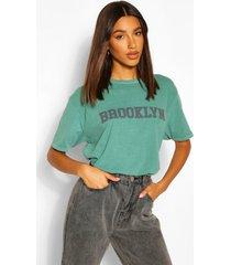 brooklyn printed washed t-shirt, green