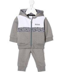 boss kidswear colour block tracksuit set - grey
