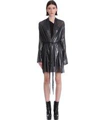 rick owens lilies coat in black polyamide