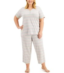 charter club plus size capri pajama set, created for macy's