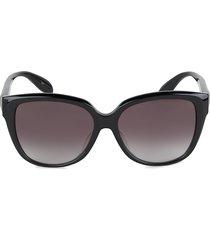 alexander mcqueen women's 58mm cat eye sunglasses - black
