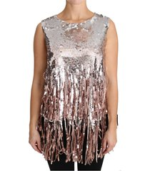 sequined fringe tank top