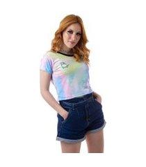 camiseta cropped feminina overfame no bad days tie dye md25