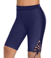 high waisted side lace-up swim shorts