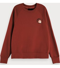 scotch & soda sweater met textuur, lange mouwen en artwork