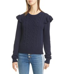 women's veronica beard earl ruffle shoulder cable knit sweater, size small - blue