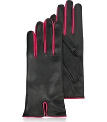 forzieri designer women's gloves, black & fuchsia cashmere lined leather ladies' gloves