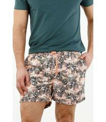 pantaloneta de baño de hombre, silueta confort, con estampado de flamencos