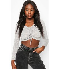 burnout ruched tie front top, grey