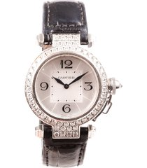 cartier pasha de cartier 18k white gold diamond watch black sz: