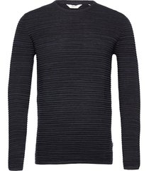 6182740, knit - sdstruan stickad tröja m. rund krage blå solid
