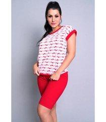 pijama pescador blusinha e calça curta mvb modas feminino - feminino