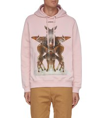'eversham oth' deer graphic print cotton hoodie