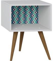 mesa de cabeceira lyam decor retrã´ branco estampa azul - branco - dafiti