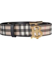 burberry logo plaque checked belt