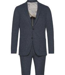 cotton linen suit kostym blå lindbergh
