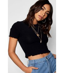 basic lettuce hem crop rib top, black