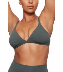 skims stretch cotton triangle bralette, size large in deep sea at nordstrom