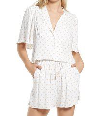 afrm marianna woven button-up shirt, size x-small in blanc/nude polka dot at nordstrom