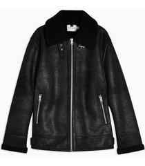 mens black faux shearling aviator jacket