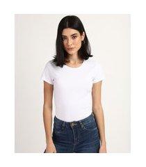 camiseta feminina básico manga curta decote redondo branca