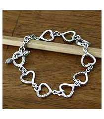 sterling silver heart bracelet, 'story of love' (indonesia)