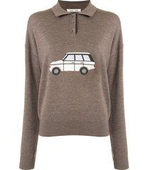 sandy liang polo shirt sweater - brown
