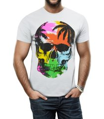 heads or tails men's colorful tropical skull graphic printed rhinestone studded t-shirt