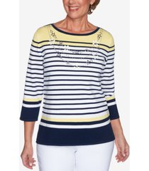 alfred dunner petite lazy daisy striped faux-necklace sweater
