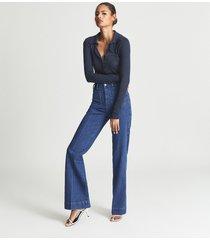reiss lucia - open neck polo bodysuit in navy, womens, size xl