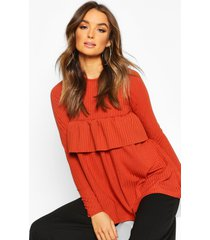 rib ruffle detail smock top, terracotta
