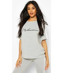 side stripe woman t-shirt, grey marl