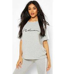 side stripe woman t-shirt, grey marl