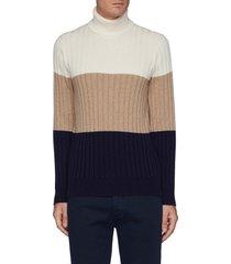 colourblocked wool cashmere silk blend turtleneck sweater