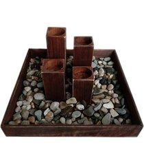 świecznik rustykalny brązowy z kamieniami