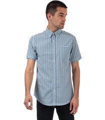 ben sherman mens house checked short sleeve shirt size xl in blue