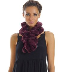 [shop lev] melody women's solid faux fur twisted/ spiral scarf (wine)