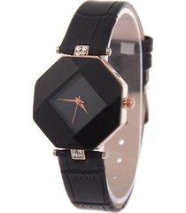 reloj mujer analogico cristal geometrico cuero pu 224 negro