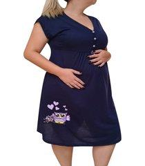 camisola plus size linda gestante manga curta pã³s parto mamã£e coruja - azul marinho - feminino - dafiti