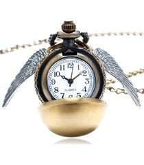 unisex orologio da tasca in quarzo a forma di boccino d'oro con ali collana di steampunk quidditch