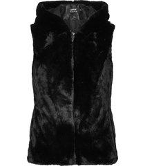 onlmalou faux fur waistcoat cc otw vests padded vests svart only