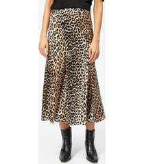 ganni women's blakely silk skirt - leopard - eu 36/uk 8 - multi