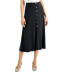 jm collection petite button front midi skirt, created for macy's