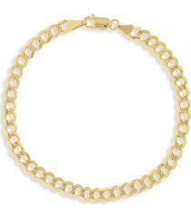 saks fifth avenue men's 14k gold curb link bracelet/4.95mm