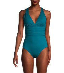 la blanca women's island goddess multi-strap cross back one-piece swimsuit - caribbean - size 16